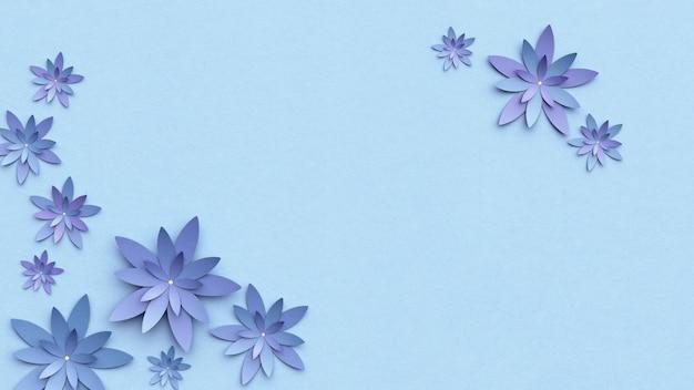 美しいフラワーアレンジメント。水色の背景の花。テキスト用の空のフォトフレーム。グリーティングカード。フラットレイ、コピースペース。フラットレイ、コピースペース。 3dイラスト。
