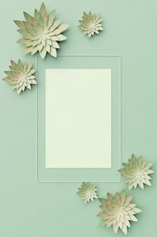 美しいフラワーアレンジメント。薄緑色の背景に花。テキスト用の空のフォトフレーム。グリーティングカード。フラットレイ、コピースペース。フラットレイ、コピースペース。 3dイラスト。
