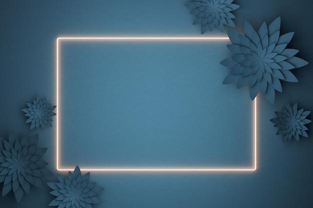 ネオンフレームの美しいフラワーアレンジメント。紺色の背景の花。テキスト用の空のフォトフレーム。グリーティングカード。フラットレイ、コピースペース。 3dイラスト。