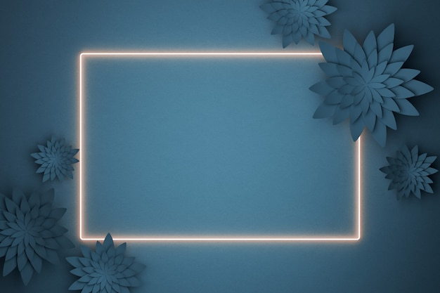 Beautiful flower arrangement in a neon frame. flowers on a dark blue background. empty photo frame for text. greeting card. flat lay, copy space. 3 d illustration.