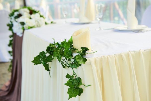 Beautiful flower decoration in restaurant