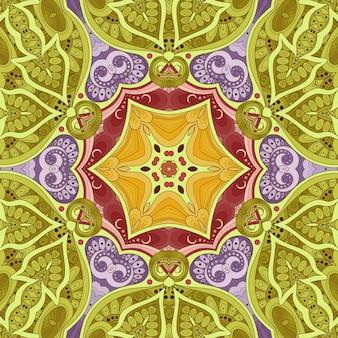 美しい花柄、花のイラスト、黄緑ピンクの色合いの幾何学的なタイル、花の背景