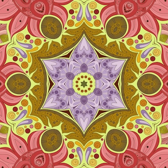 Beautiful flower pattern, flower illustration, geometric tile of yellow green pink shades, floral background
