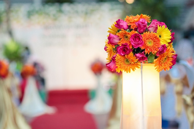 Beautiful flowers bouquet decorate in wedding ceremony