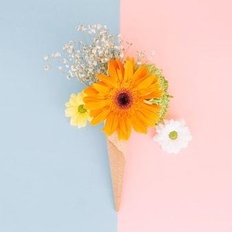 Beautiful flowers composed in cone