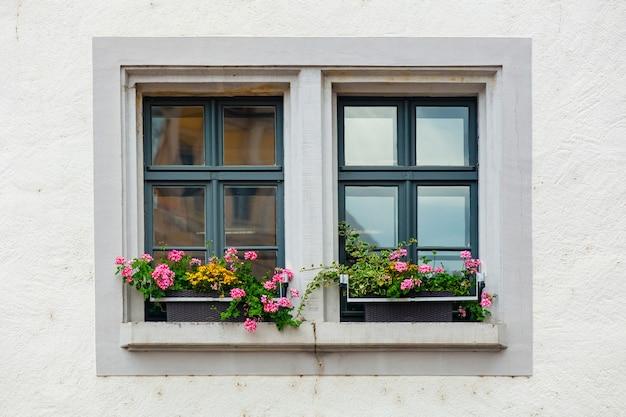 Красивые цветы на подоконнике в городе мейсен, германия