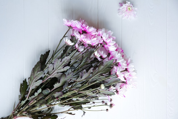 白い背景の上の美しい花。菊の花束。完璧なフラットレイ。幸せな母親の休日のはがき。国際女性の日の挨拶。広告やプロモーションのための誕生日のアイデア。
