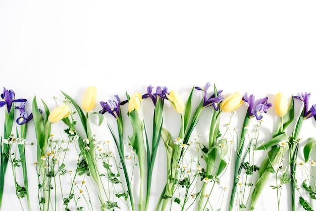美しい花: 白い背景にチューリップ、カモミール、アイリスの花。フラット レイアウト、トップ ビュー。フラワーアレンジメント