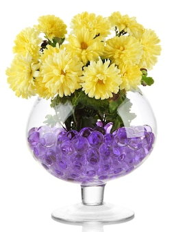 Beautiful flowers in vase with hydrogel isolated on white surface