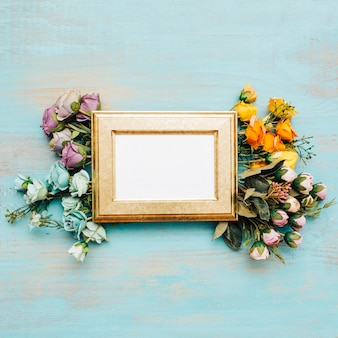 Beautiful flowers with vintage frame.