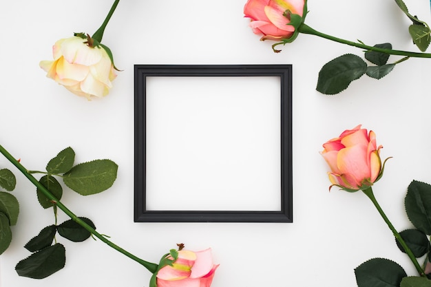 Beautiful frame with roses around