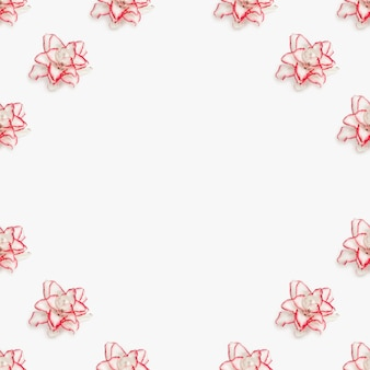 Красивая цветочная рамка с белой пионовой лилией, живые цветы с красной каймой