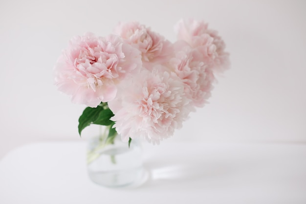 Beautiful fresh pink peonies in a vase at home interior