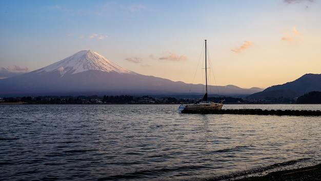 Beautiful fuji mountain with lake kawaguchiko, japan at twilight times, fujisan