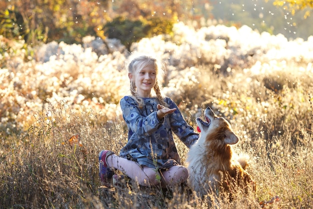 Beautiful fun blond girl and corgi fluffy  in the autumn park.