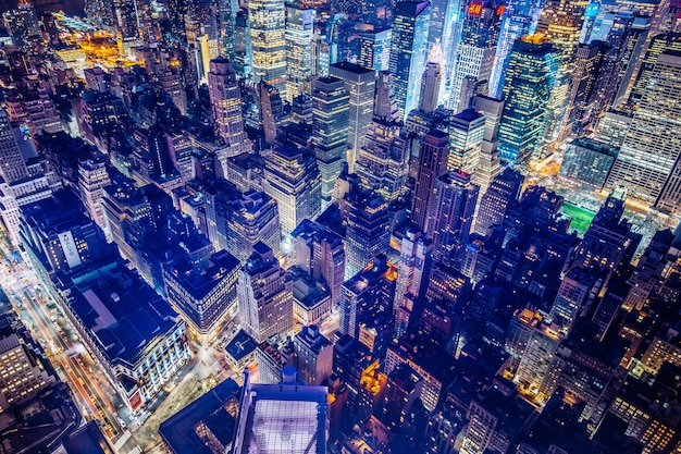 Beautiful futuristic aerial shot of new york city