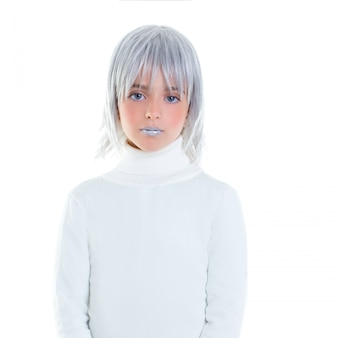 Beautiful futuristic kid girl futuristic child with gray hair