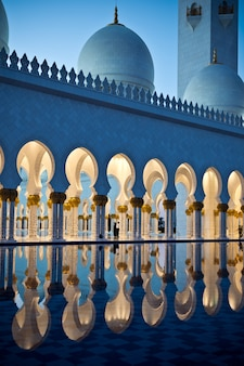 Beautiful gallery of famous sheikh zayed white mosque in abu dhabi uae at night