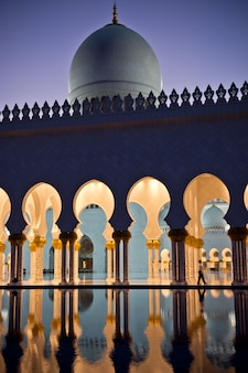 Beautiful gallery of famous sheikh zayed white mosque in abu dhabi, uae at night
