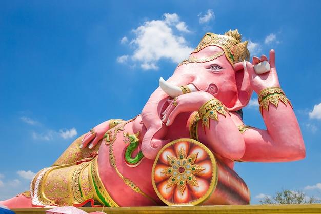 Beautiful ganesh statue on blue sky at wat saman temple in prachinburi province