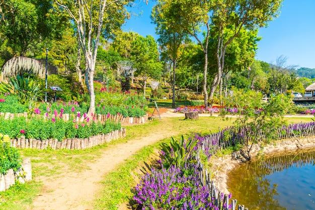 Красивый сад на королевской сельскохозяйственной станции - doi inthanon в чиангмае, таиланд