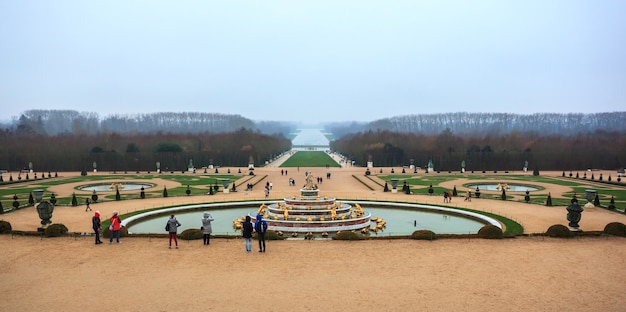 Beautiful garden in a famous palace of versailles, france.