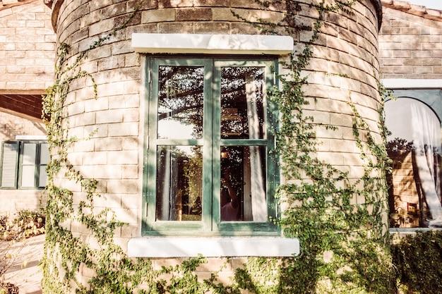 Beautiful garden window outdoor street
