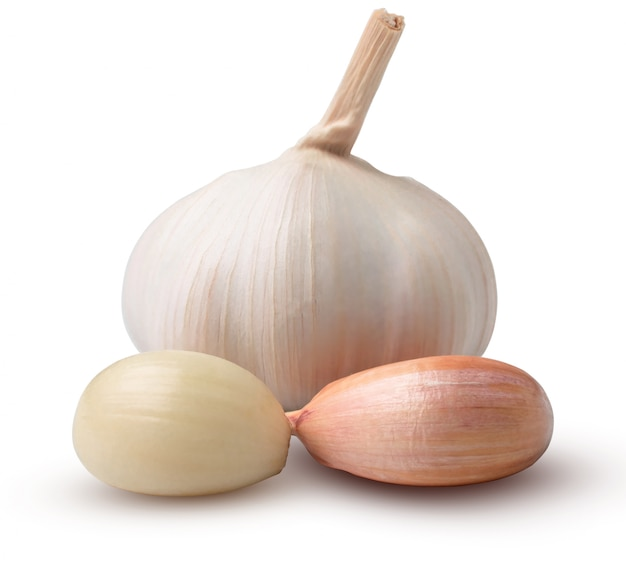 Beautiful garlic with segments isolated on white background