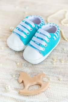 Beautiful gentle background, accessories newborn baby. selective focus.