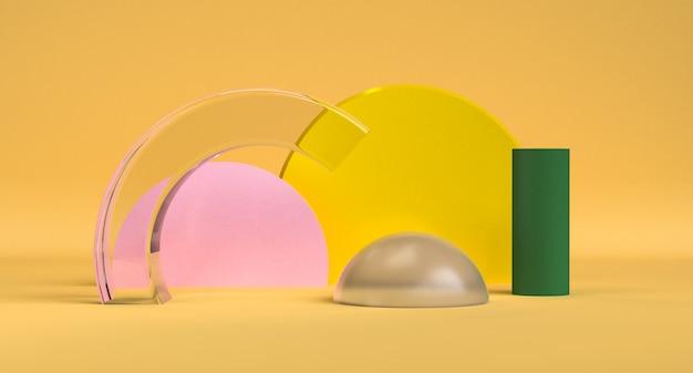 Beautiful geometric shape minimalist abstract background, 3d render.