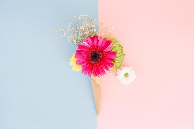 Beautiful gerbera in bouquet in cone