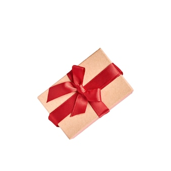 Beautiful gift box with red ribbon isolated on white. valentine day greeting card.