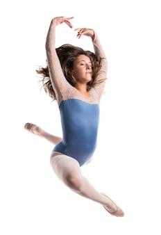 Beautiful girl ballet jumping