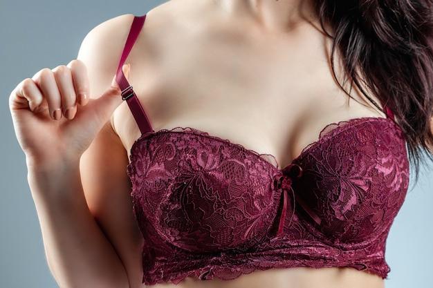 Beautiful girl in a bra close-up