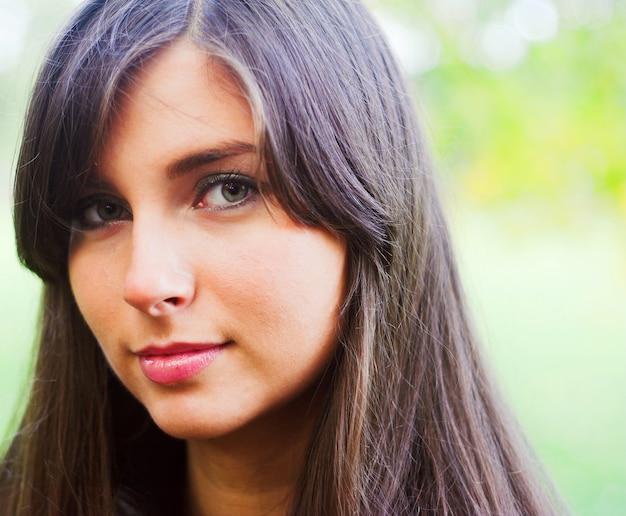 Beautiful girl close up outdoor