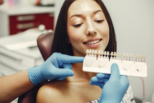 Beautiful girl in a dentist