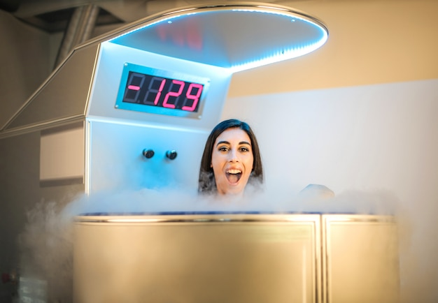 Beautiful girl doing a cryotherapy session