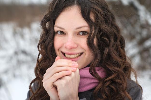 Beautiful girl freezes in winter