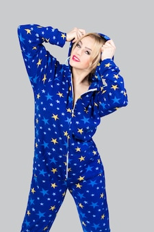 Beautiful girl in funny pajamas