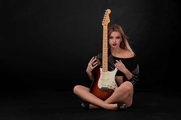 Beautiful girl  and guitar