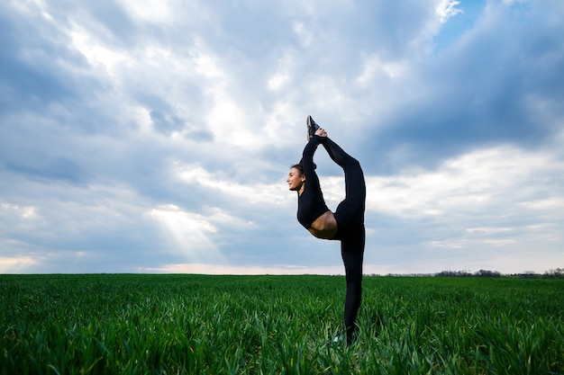Beautiful girl gymnast on the green grass do yoga. a beautiful young woman on a green lawn performs acrobatic elements. flexible gymnast in black does a handstand in split