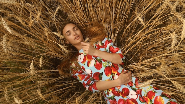 美しい少女は小麦畑に横たわっています