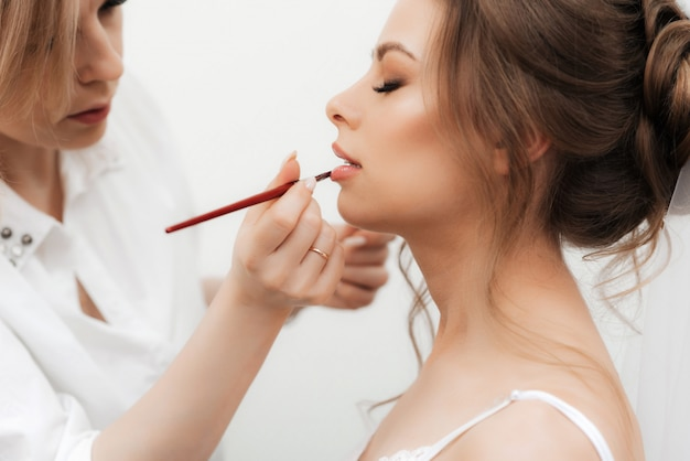 Beautiful girl makeup artist makes make-up and paints her lips in a professional beauty salon