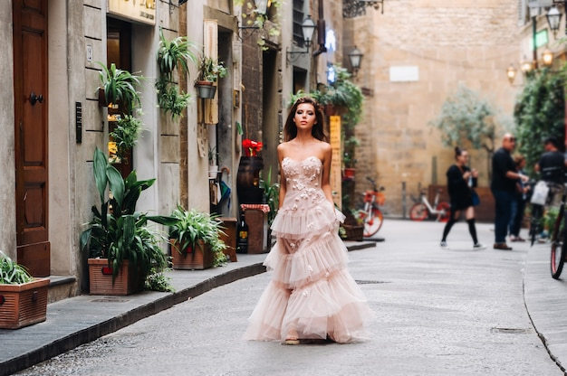 Beautiful girl model in pink wedding dress photographed in florence, photo shoot in florence bride.