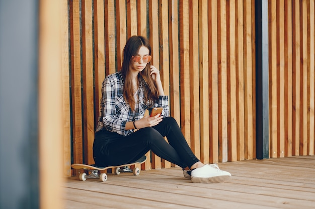 A beautiful girl near wall