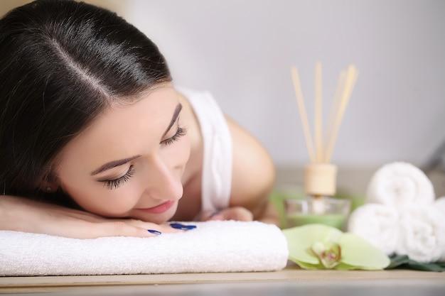Beautiful girl relaxing in the spa