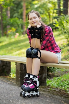 Beautiful girl on rollerblades