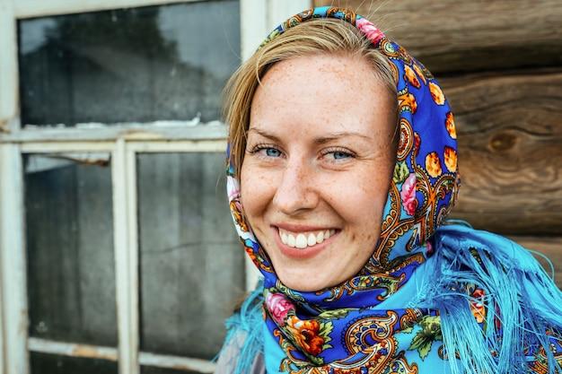 Beautiful girl in russian folk shawl