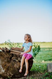 美しい少女は大きな丸太小屋の切り株に座っています。