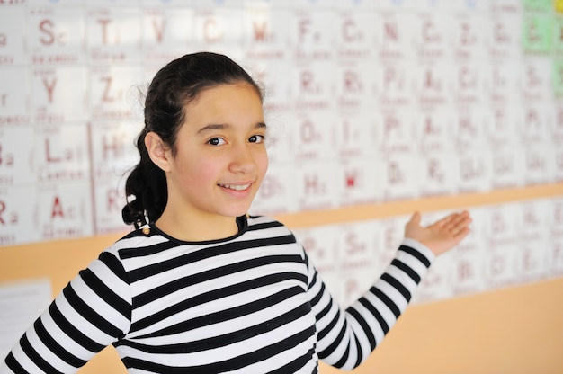 Beautiful girl standing in front of a periodic table of elements